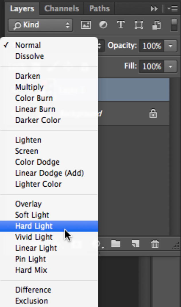 Select hard light blending mode