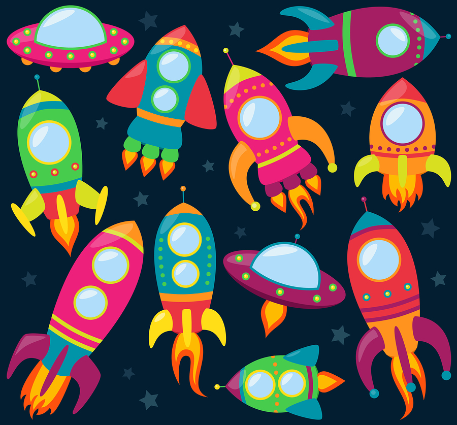 Vector collection of cartoon rocket ships