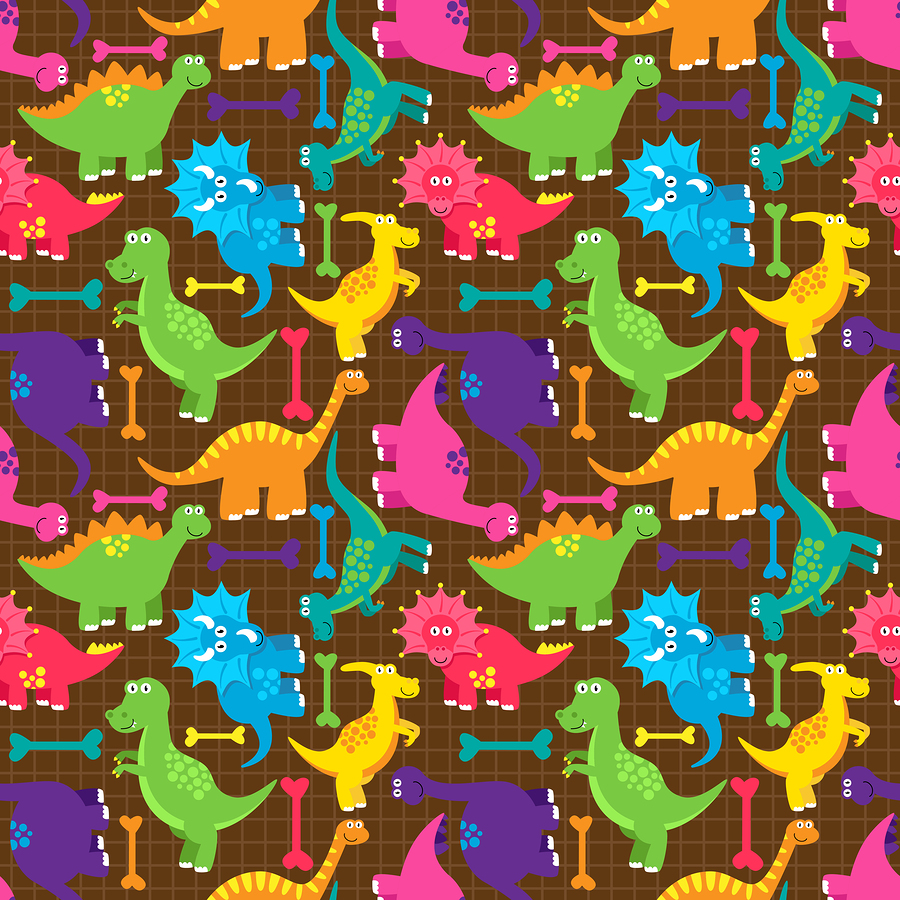 Seamless dinosaur vector background pattern