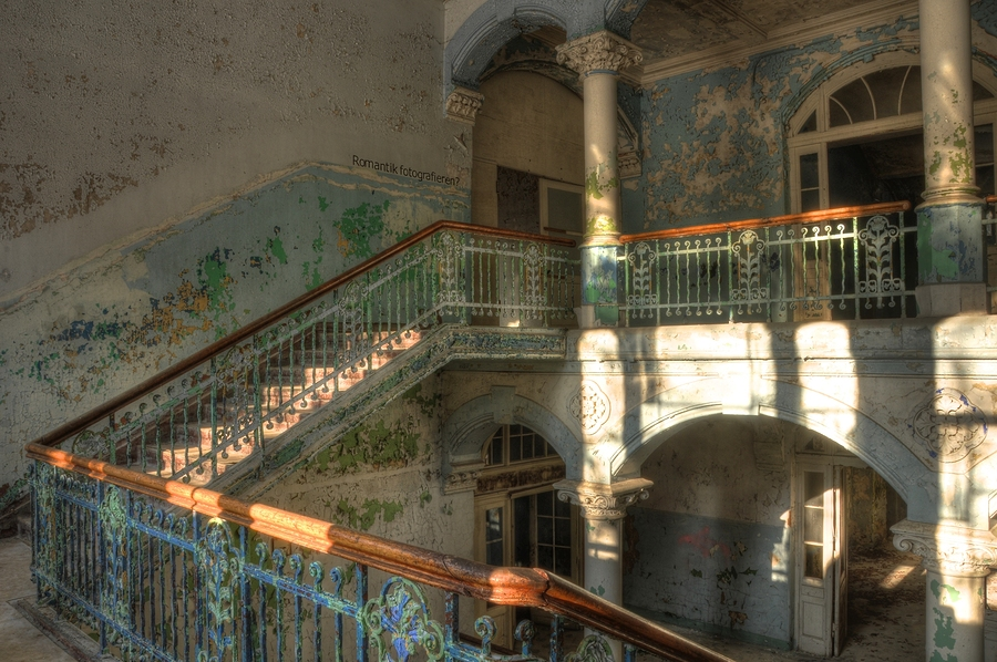 Staircase in abandoned hospital. Beelitz by Stefan Schierle