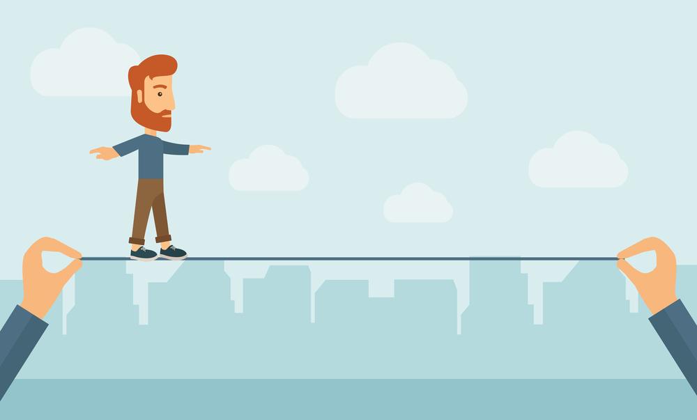 Stock image of man balancing on wire byRaStudio.