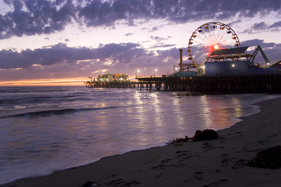 Santa Monica Pier at sunset by David Pruter.