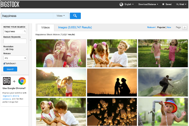 """Screenshot of Bigstock search page for """"happiness."""""""