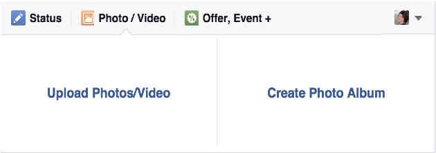 Screenshot image of Facebook's photo upload page.