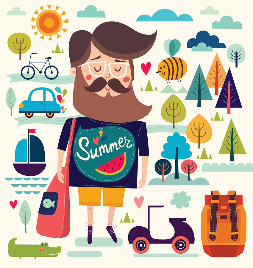 Father with summer symbols illustration by  Molesko Studio .