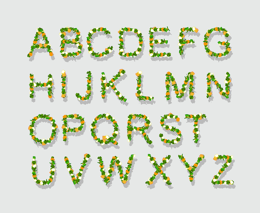 Green leaves font |  popaukropa
