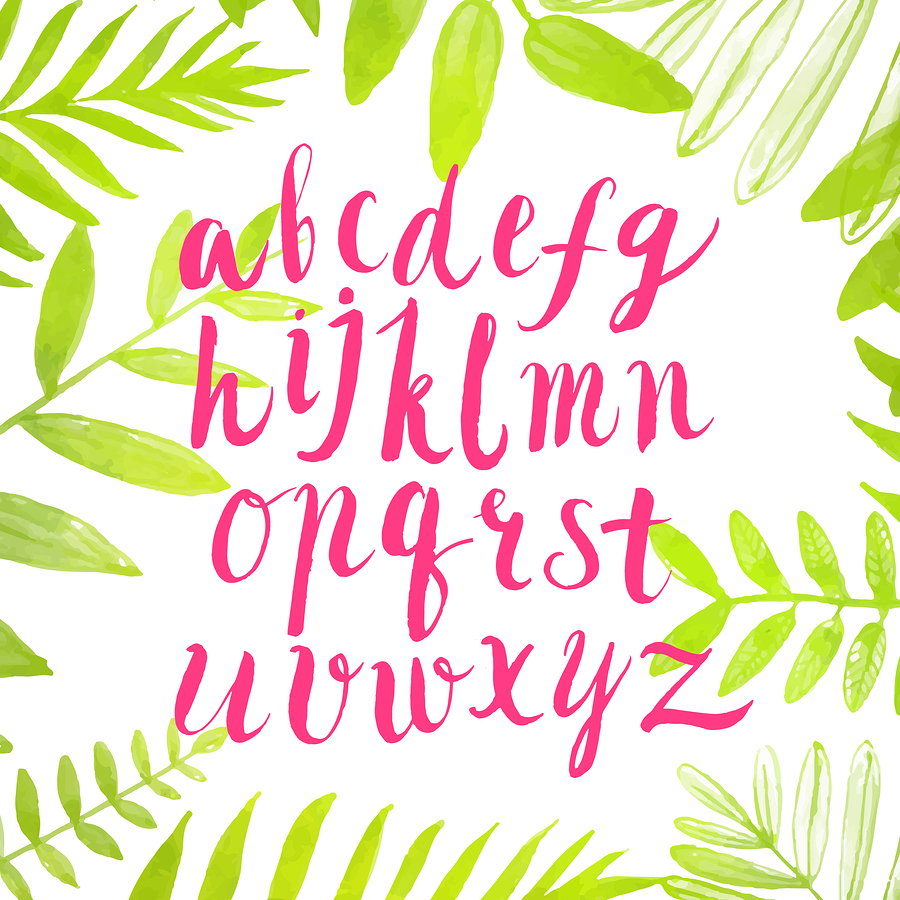 Pink brush alphabet in green leaves | kotoko