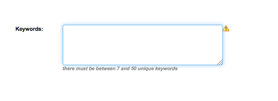 Here's a screenshot of the metadata keyword entry box, with new advisement.
