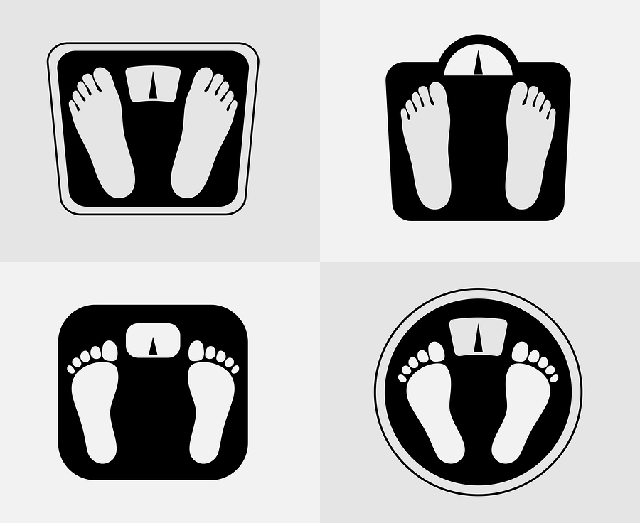 Weight loss and scale icons |  Microvector