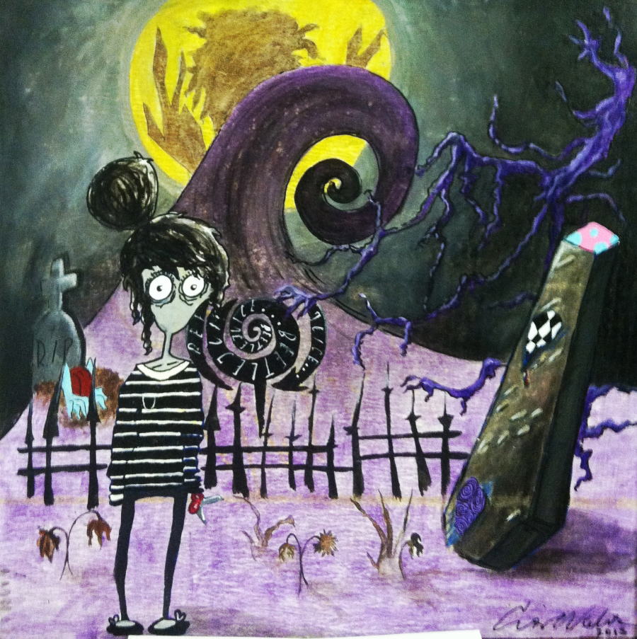 "This is Cris' latest painting.  It is an animation of herself, inspired by non-other, Tim Burton.  Acrylic on a 24""X24"" ceiling tile."