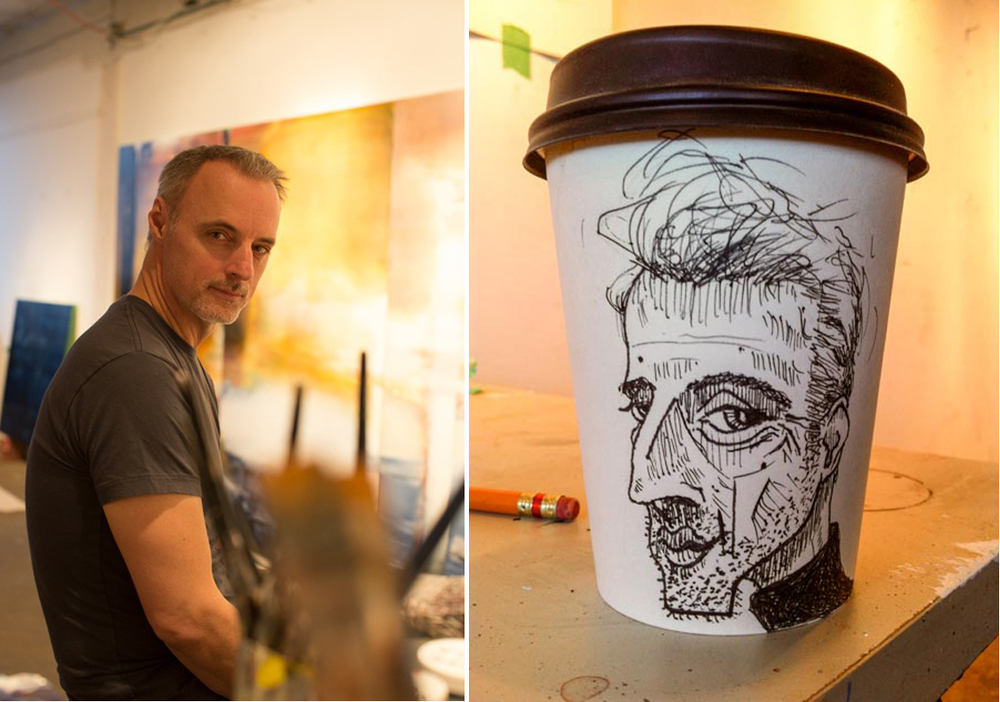 Image of Brent Boechler © Jessica Timmins Venturi. Coffee Cup Self Portrait and Image by Brent Boechler.
