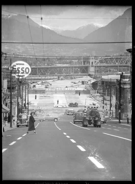 South end of new Granville street bridge looking North towards Burrard, 1954, Province Newspaper Courtesy of VPL Archives