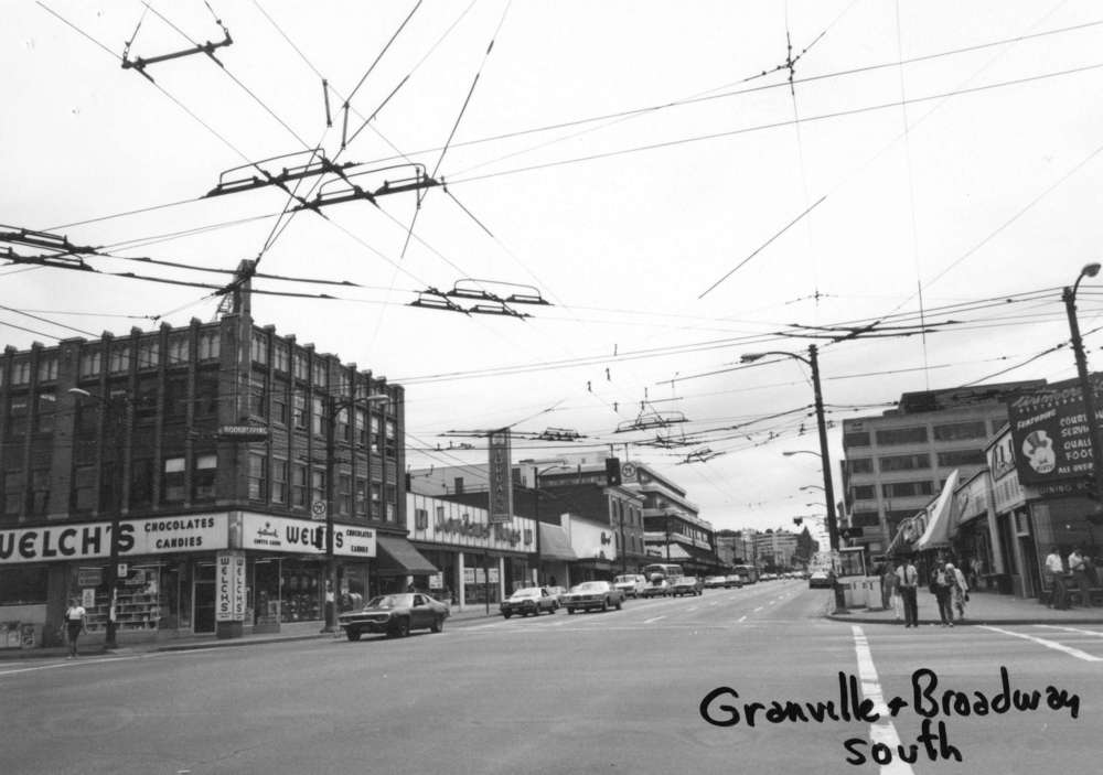 Broadway and Granville sometime between 1980 and 1997 © City of Vancouver Archives