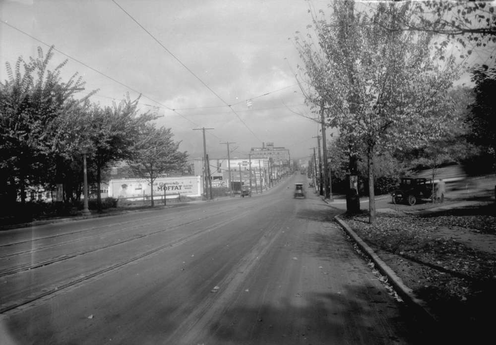Taken for Duker and Shaw Billboards Ltd. South Granville, looking north from Angus Drive. Courtesy of Vancouver Archives.