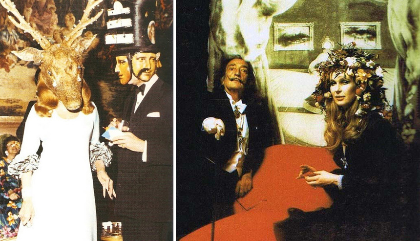 Left: Baroness Marie-Hélène de Rothschild  in diamond encrusted horned mask & Baron Alexis de Redé in Dali designed mask Right: Salvador Dali seated in front of his famous depiction of Mae West