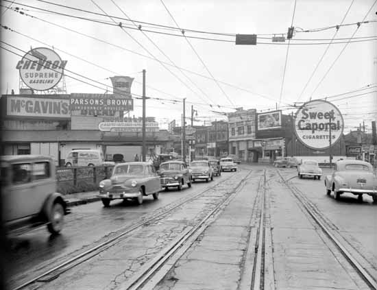 Corner of Granville Street & West 4th Avenue looking South from Granville Bridge, 1950 © VPL Archives