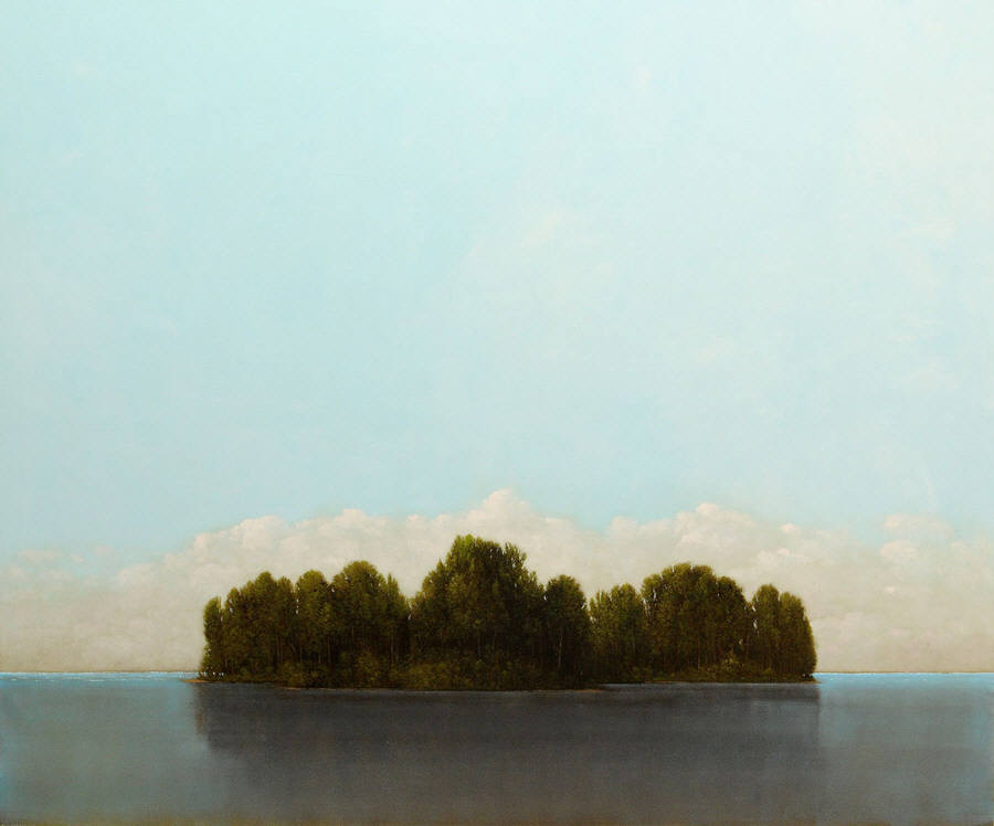 Middle Island, oil on panel by Robert Marchessault. Available at Bau-Xi, Vancouver