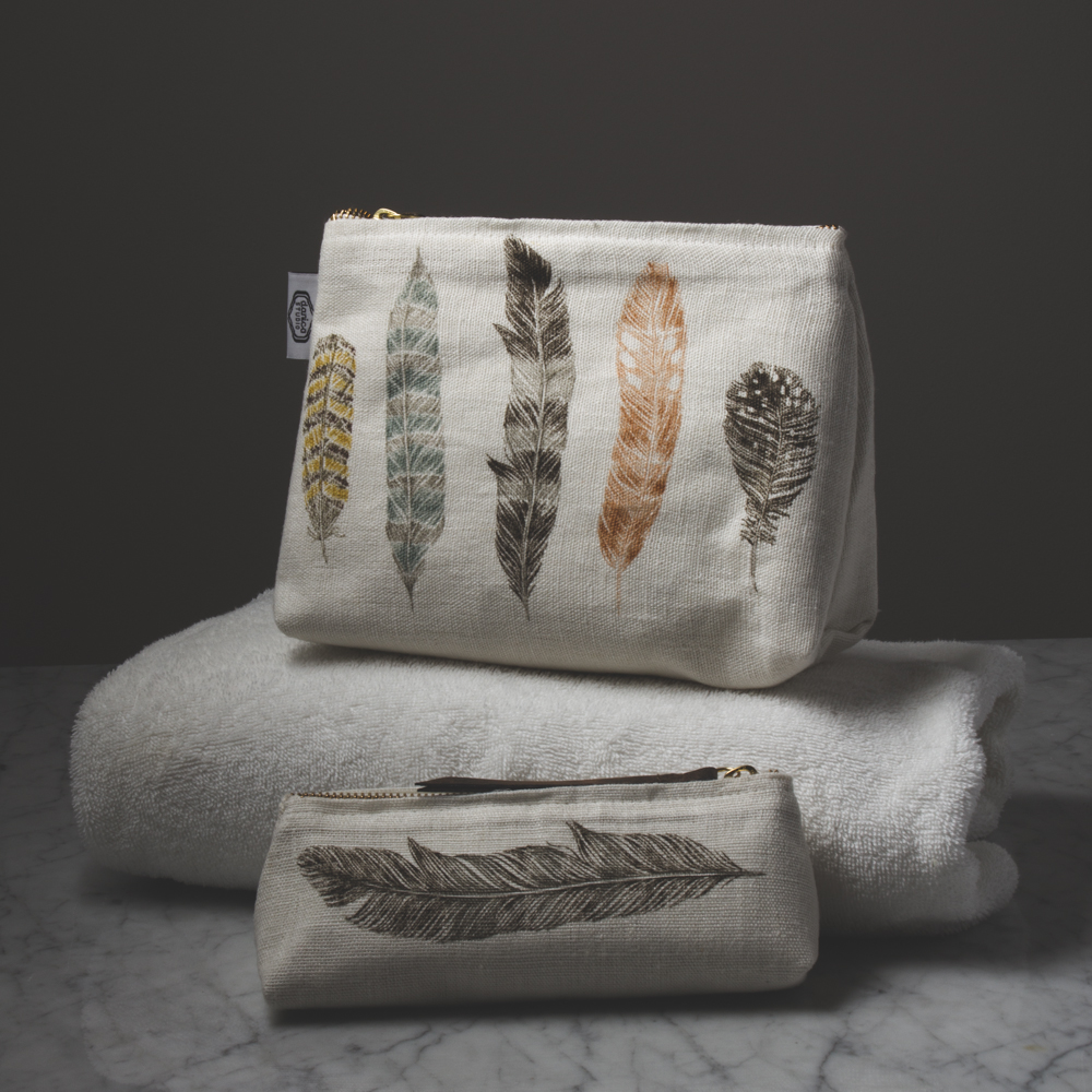 Large Feather pouch, $22.95, S  mall Feather pouch   $16.95 - both at Country Furniture