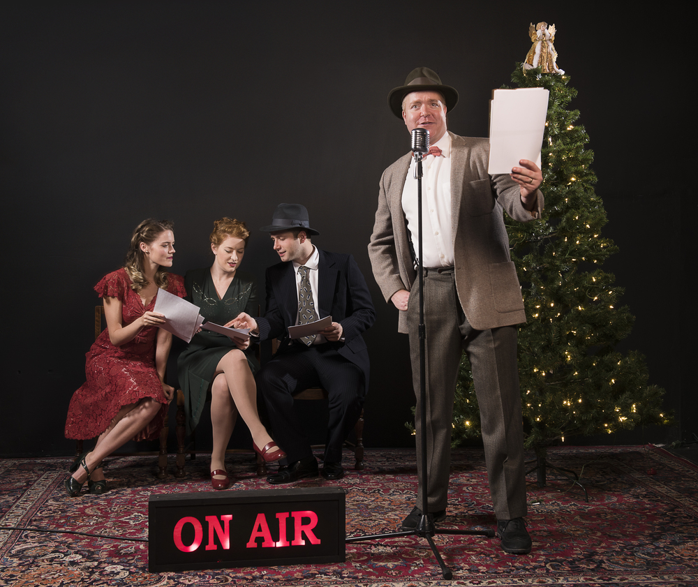 It's a Wonderful Life Radio Show.  Photo by Emily Cooper. Pictured: (L-R) Kaitlin Williams, Diana Squires, John Voth, Peter Church.