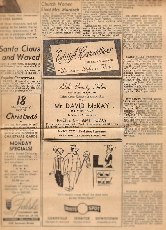 Vancouver Sun clipping - December 3, 1949