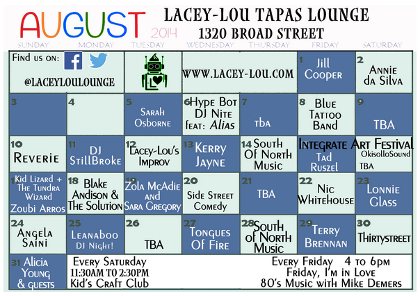 Lacey-Lou's August Events Schedule