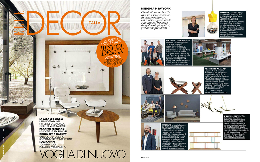 AlexAllen Studio  was featured in Elle Decor Italia's September (2013) issue as part of their 2013 ICFF highlights.