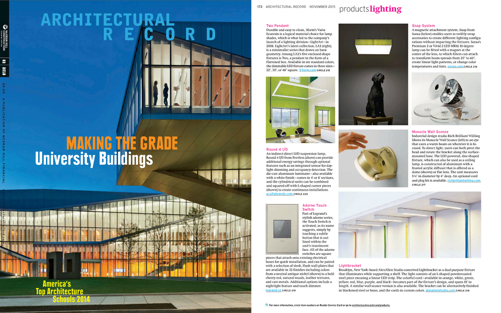 The  Lightbracket  was featured in Architectural Record's November (2013) issue under  products lighting   section.