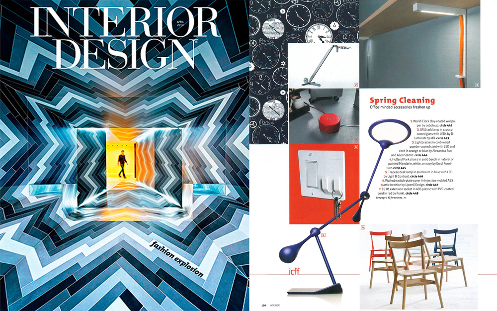 "The  Lightbracket  was featured in Interior Design Magazine's April (2013) issue as part of  ""Spring Cleaning: Office-Minded Accessories Freshen Up""."