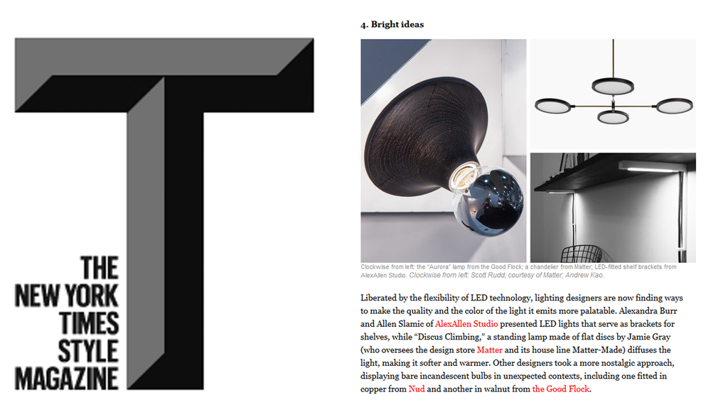 "The Lightbracket was featured in the New York Times T Magazine on May 22, 2014 as part of the 2014 ICFF highlights    ""  All the Rage 
