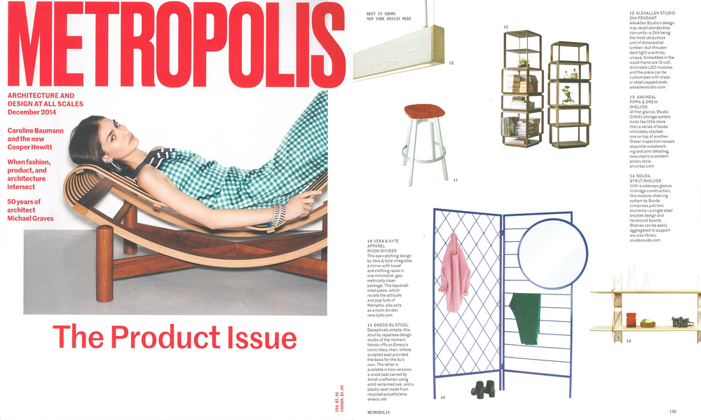 "The  2x4 Pendant  was featured in  Metropolis Magazine's  December 2014 issue as part of their ""Best in Shows"" selections during New York Design Week."