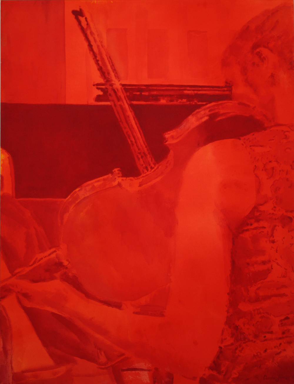 "Violin Recital     Acrylic on Canvas      52"" x 40""      2014"
