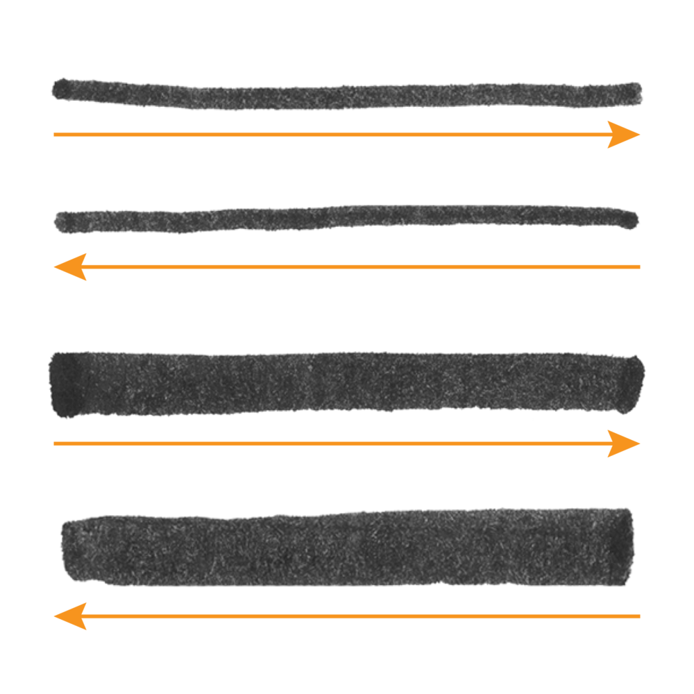Move in either direction for thick and thin horizontals.