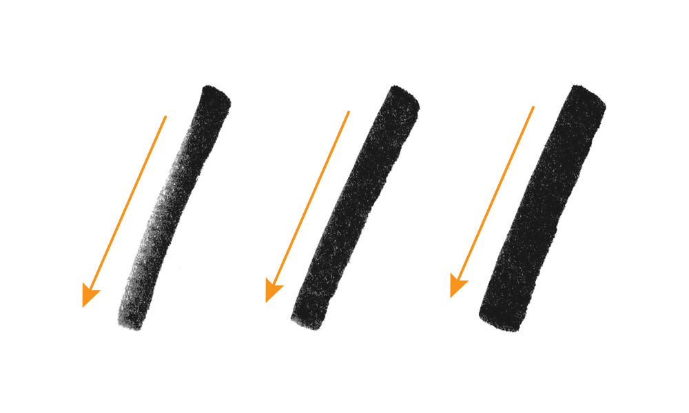 Quick downstrokes create texture vs. slow downstrokes make broader widths
