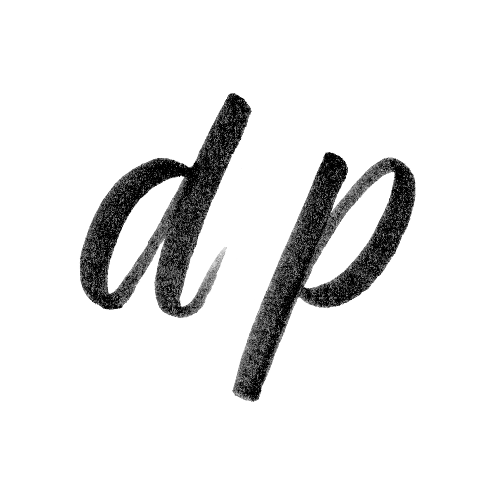 The letters d and p each have bowls utilizing the arcing downstrokes. The d uses a thick downstroke for its ascender while the p uses the same stroke, but for its descender