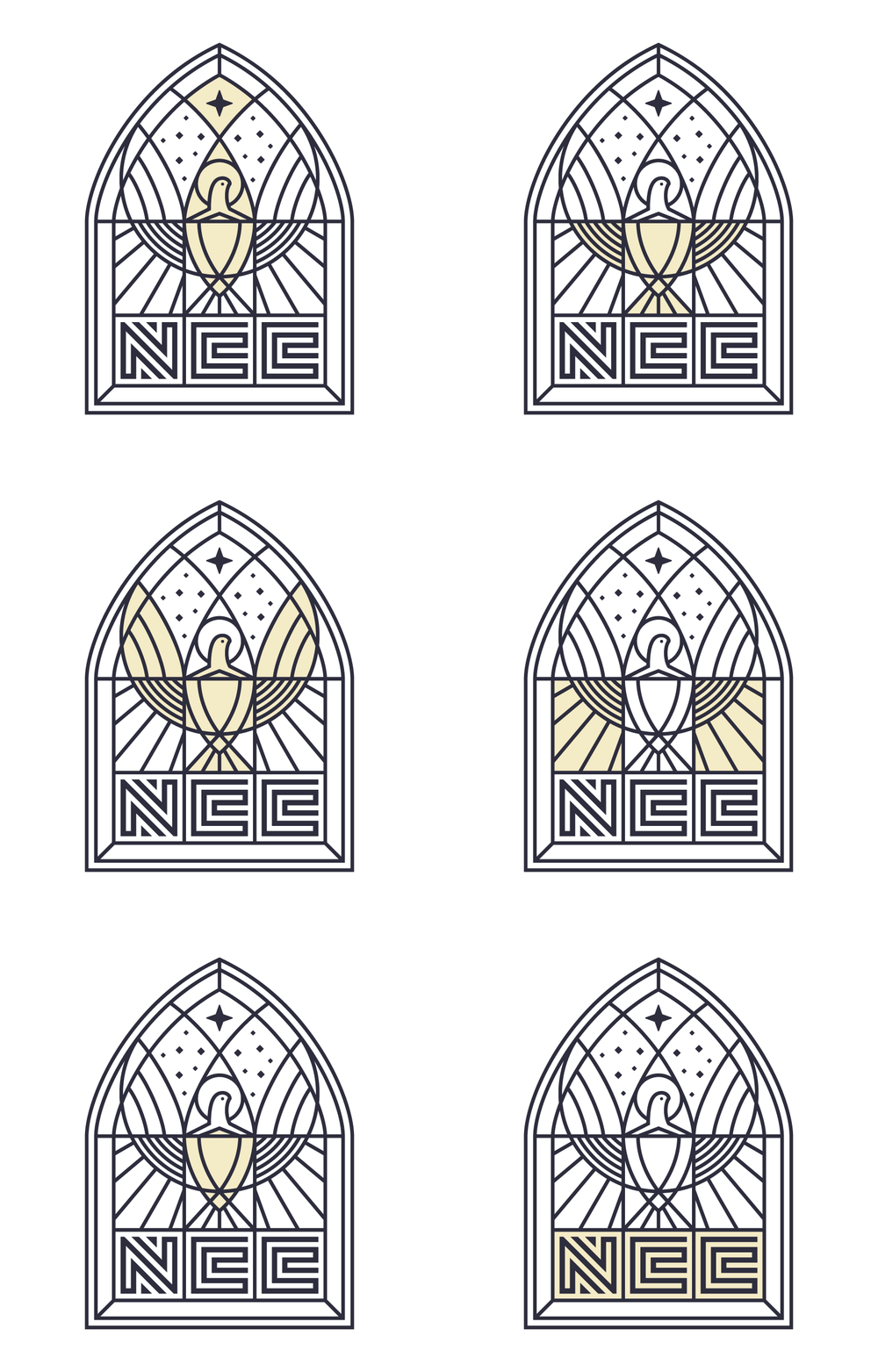 Various Christian symbolism to reflect the overall identity captured within one  cohesive design.
