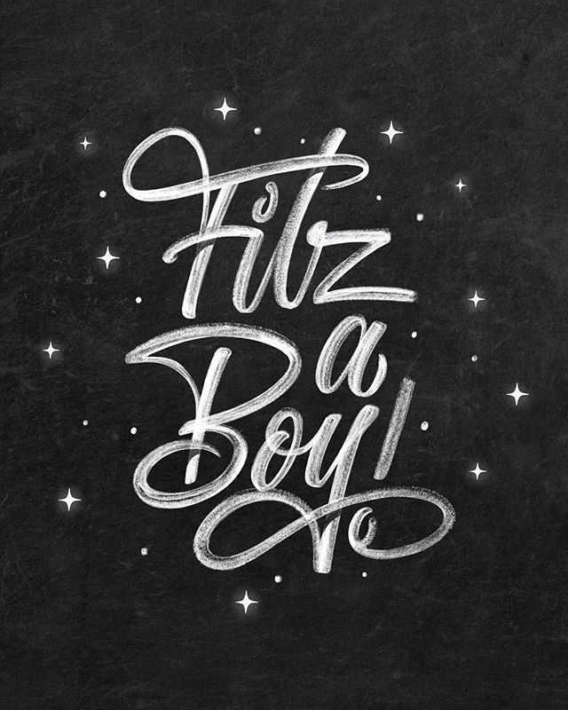 This was the mockup I created announcing and gender revealing the birth of my son, Fitz. I designed this on my #ipadpro prior to projecting it on my chalk wall and making a time-lapsed video of the process (see the latest video in my feed for reference). · I want to give a shoutout to my brother across the pond, @ianbarnard who let me test run his awesome chalk brush collection in collaboration with @stefankunz It was the perfect resource to visualize what the lettering would look like before I transitioned to an actual chalk mural. I highly recommend Ian's Chalkdust Brush set. He even includes several blackboards so you can realistically mock up and contextualize your design. · Once I was happy with the #Procreate lettering, I hooked the iPad up to my BenQ projector and lightly outlined the wall with a chalk pencil. I hit the record button on the GoPro and went to work! · It was a choppy first few days for this little guy, but we managed to get through it all. Swipe to see the difference between Fitz's first few hours and first few weeks. All is good an we have a lot to be thankful for. · · · · · #goodtype #ligaturecollective #typegang #handlettering #typography #typeriot