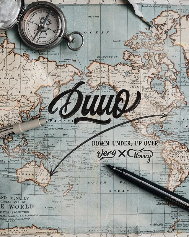 """Meet Duuo: A collaborative mission between a pair of lettering lervelies, @mattvergotis (he's from Down Under) and me (I'm from Up Over). 🇦🇺✈️🇺🇸Two locations, a couple of dudes, coming together to perform a duet in the form of teaching their love of letterforms. · Matt is my bestest digital frand that I've yet to meet in person, but that ends next month when he crosses over the pacific to meet me in #NYC to host a few lettering workshops before we cross the states to #LA to put some more workshops. It's been about 10 years since we first met in the digital world when we publicly posted our design work onLogopond. Matt and I transitioned into the world of hand lettering around the same time—always competing, often helping and somewhat supporting one another😛 · It's an absolute pleasure to finally have the opportunity to hangout while teaching something we love most. · We've just announced our collaborative @Crayligraphy Workshops in New York City and L.A. (link in bio), but we wanted to offer something else that we are just as passionate about. Be on the lookout in the next day or so for the announcement. · As Matt would say in his super sexy Aussie accent: """"Yewwww! I'm frothing to have a chin wag, mate!"""" Whatever the hell that means...me too! 🙌"""