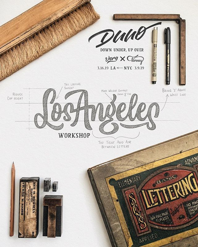 """LA, we're coming for you! Early bird registration is about done (only a couple more tickets left). If you're interested in hanging out with @mattvergotis and I for a day while nerding out 🤓/learning about lettering and visual branding, get on those tickets (link in bio). · We'll be in NYC the week prior (March 10) teaching the same material so that we cover each coast. If you're a complete newbie when it comes to letters or you're interested in """"brushing"""" up your skills, we'll also be putting on @Crayligraphy workshops the Saturdays before our lettering for logotype workshops (again in both NYC and LA). · We're looking forward to meeting, chin wagging and helping you get to the next level when it comes to hand lettering and client work! · Yewwww! 🤙😎"""