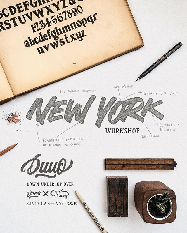 Hey NYC, get your Earlybird discount today while tickets last, and come join @mattvergotis and I for two day-long workshops. We will be visiting your stapled city in a couple weeks. This will be our first leg of the Duuo workshops (Down Under, Up Over. See a few posts back for a more in-depth explanation behind this name). The first, Saturday, March 9th, we'll be teaching an introduction to calligraphy through Crayligraphy. The following day, Sunday, March 10th, we'll be teaching Lettering for Logotypes. Both workshops will be held at @wework from 10 AM to 3 PM. All are welcome no matter your skill level and all supplies with be provided, so just bring yourself. Click the link in my bio to learn more and reserve your seat. · If you have any good recommendations for pizza, Matt and I are big fans, so please let us know where to go 🍕 ✌️