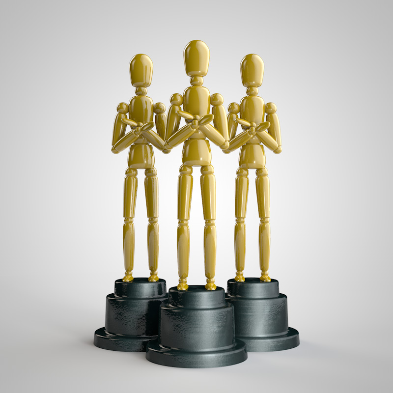 Woody an avatar use in a lot of promotions at CW. While experimenting with Light Kit Pro in Cinema 4D, I created these trophies. I send one out to account execs if they actually remember to get me a vector logo when I need one.