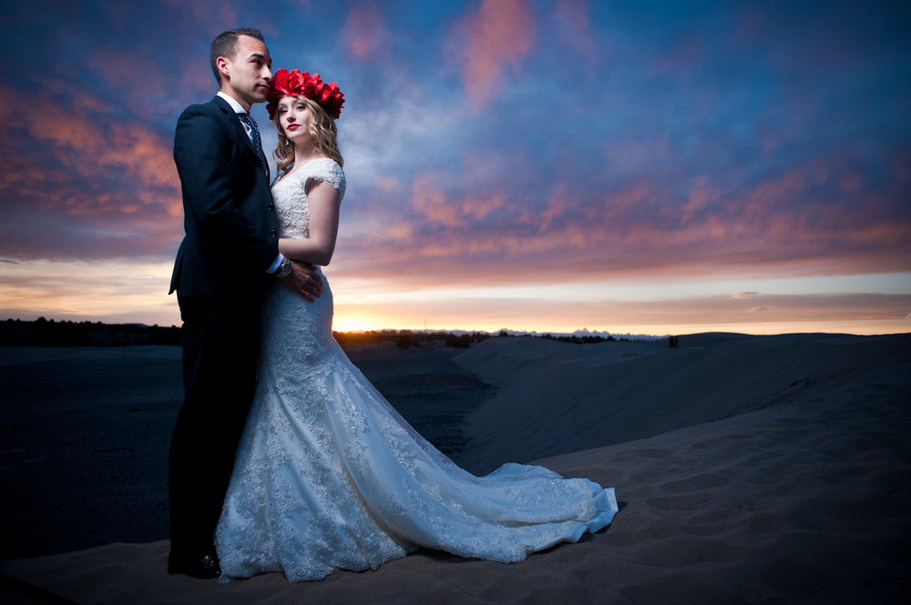 Sunset Beach wedding bride and groom