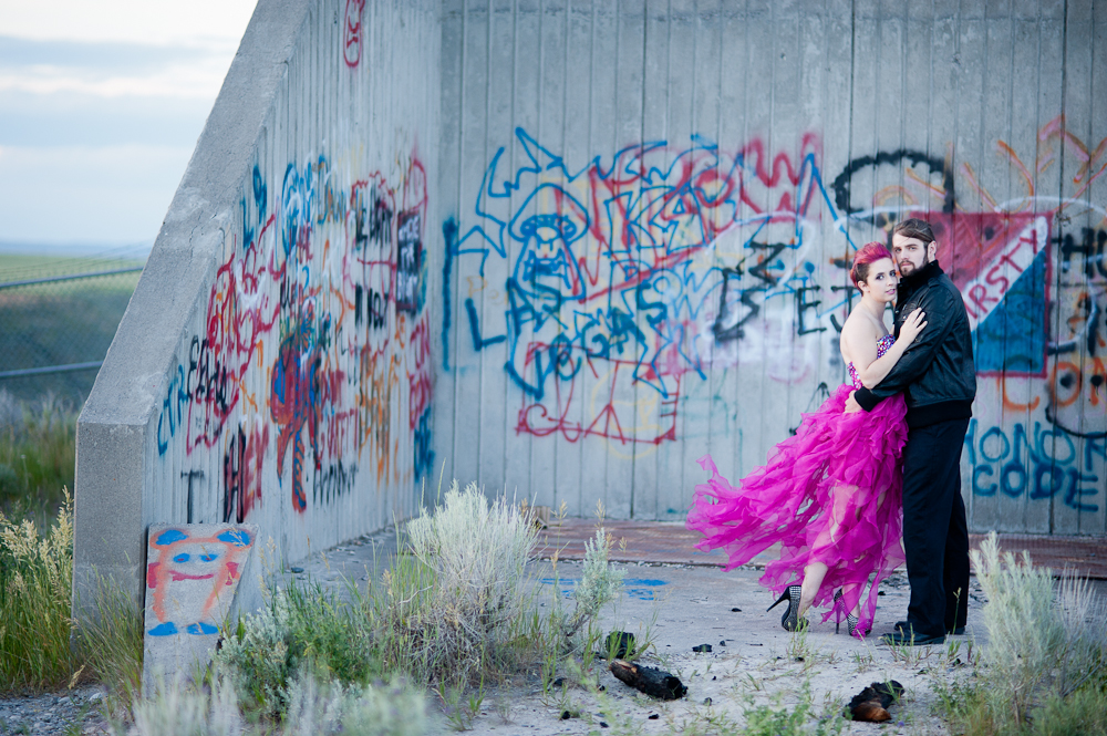 Graffiti pink wedding dress photo rock n roll bride