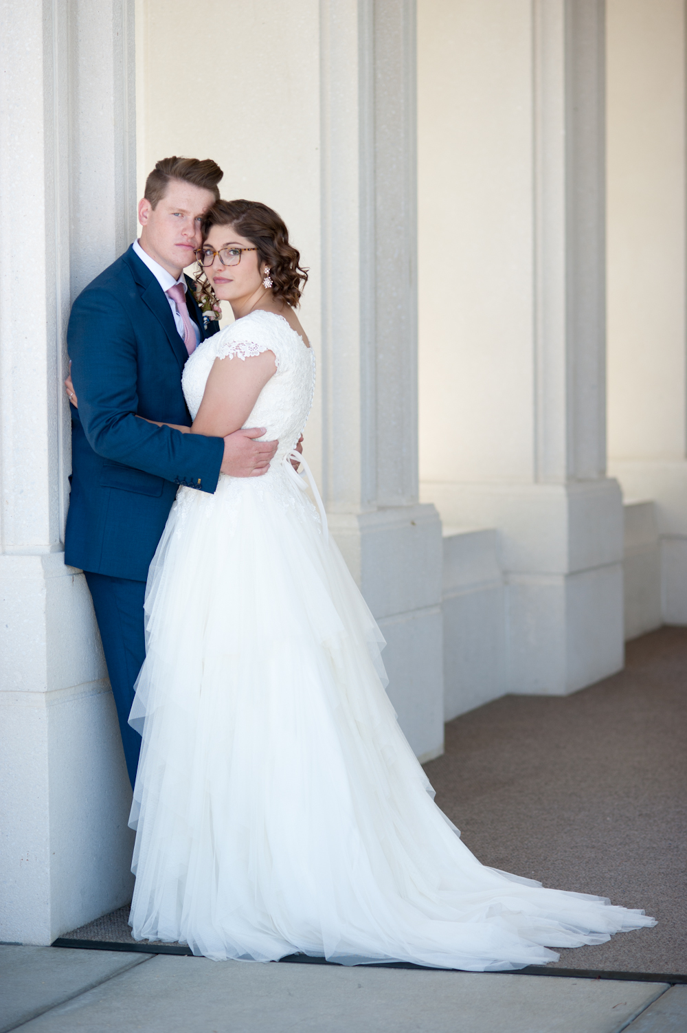 Bride and groom at the Rexburg LDS Temple