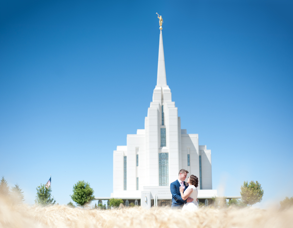 bride and groom wheat field Rexburg Idaho Lds temple Photographer