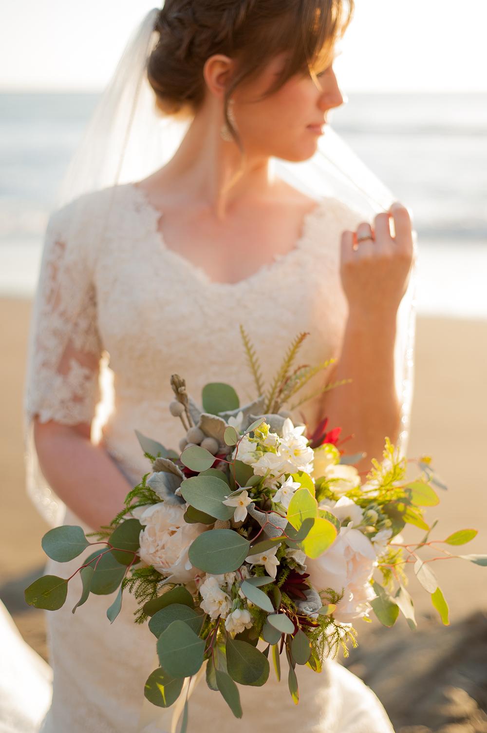 sunset beach bridal portrait