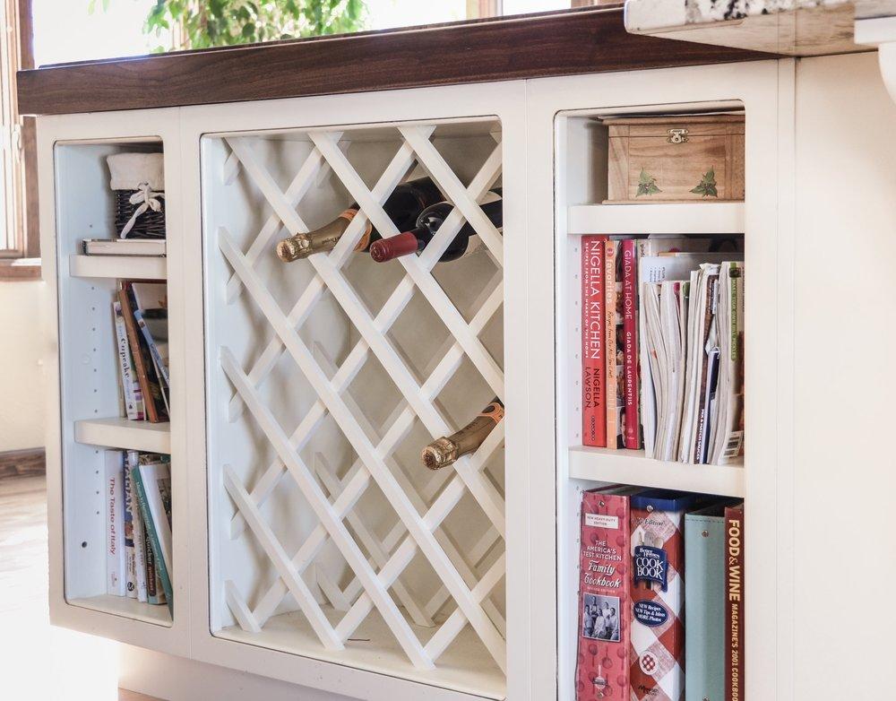 kitchen island wine open shelves interior design 328 denver littleton co
