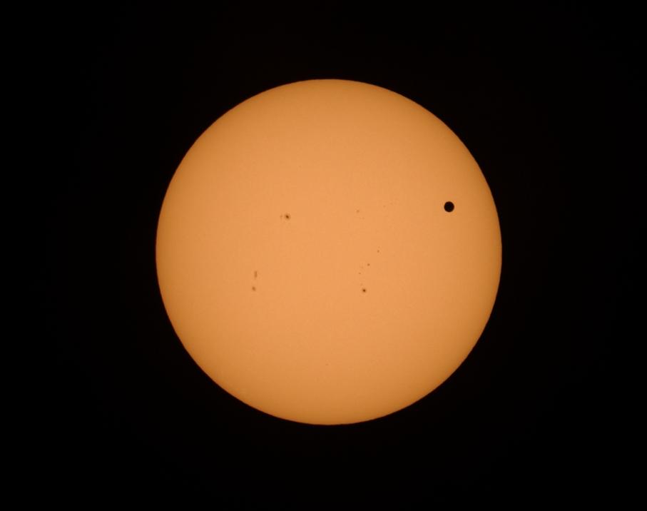 Transit of Venus with Sunspots