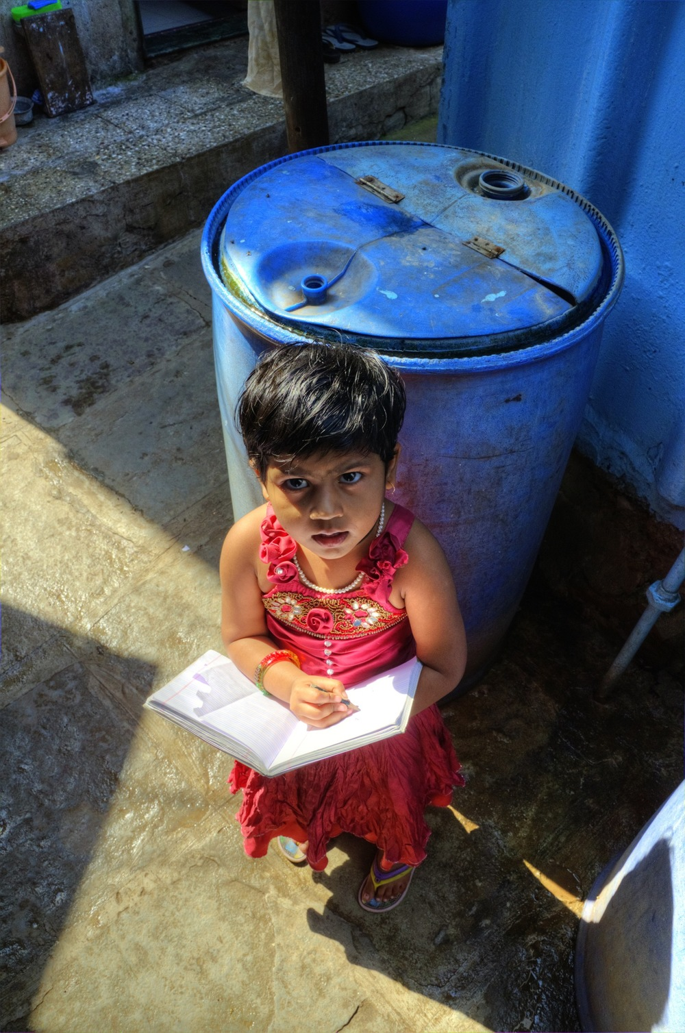 Worli Girl Studying, Mumbai, India