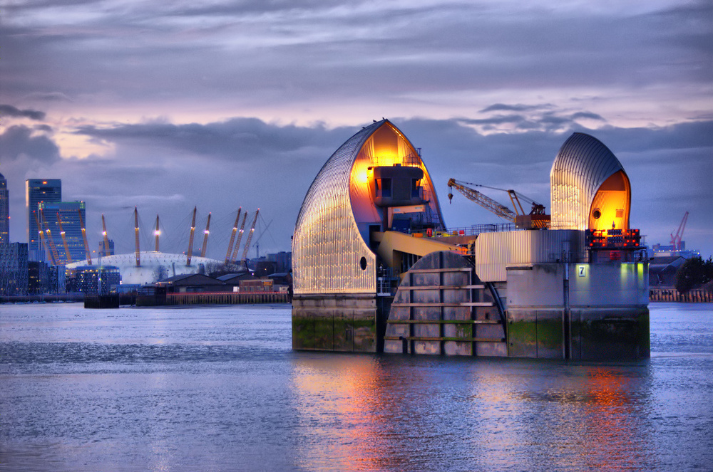 Thames Barrier & Millenium Dome, London, UK