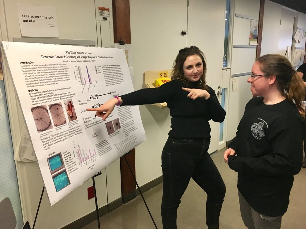 Mary Roth '18 shows off her poster, while Amanda Bacon, '19, stands by.